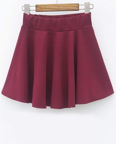Wine Red Slim Pleated Skirt - Fashion Clothing, Latest Street Fashion At Abaday.com