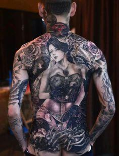 0c4062aad80e2 Full Body Tattoo, Full Back Tattoos, Tattoo Shop, Tattoo Ink, Grey Tattoo