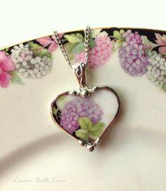 Broken China Jewelry heart pendant necklace antique purple hydrangea chintz porcelain