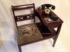 Antique Telephone Table with Seat or Gossip Bench by RebornCool