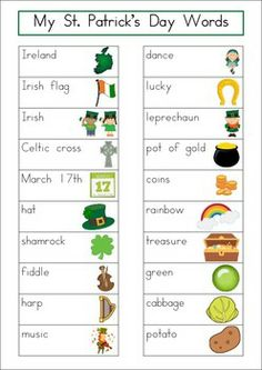 Word Wall - St. Patrick's Day Words {28 words}. Includes a personal word wall for students, a file-folder word wall for the writing/word work center and big cards for the classroom wall in color and black and white. Also comes with several different word wall worksheets.
