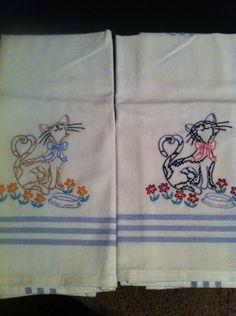Hand Embroidered Tea Towels-Set of 2. $15.00, via Etsy.