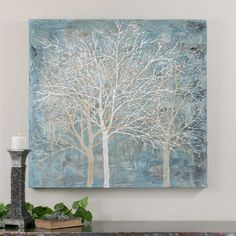 Osm Art Europe Artist Hand Painted Modern Abstract Tree Oil Painting On Canvas Light Blue Landscape Oil Picture for Wall Decoration -- Awesome products selected by Anna Churchill