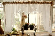 Sets(2pcs panels)Shabby Country Chic Burlap Swag Curtains Window Valance HAND Ribbon Lace White Ruffles Bows