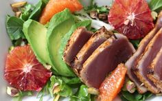 Sriracha Seared Tuna and Avocado Salad with Orange and Pistachio