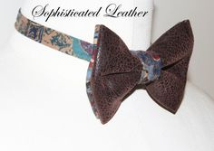 Jay Nicole's Bows Pre-tied  Brown leather x Cotton Adjustable Neckband #jaynicolesbows #bowties #designerjaynicole #shopjaynicole #fashion #mensfashion #womensfahion