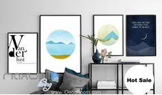 Sea Mountain Night Star Moon Canvas Prints Wall Decals Kids Art Decor Unframed IDCCV-BO-000229