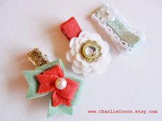 Girls/Baby Hair Clip Set Felt Flower Felt Bow Hair by CharlieCocos