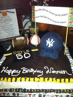 50th Sports Cake - For a 50th birthday party - the guy loved Steelers and Yankees - so I did a combination for him! Balls are cereal treats, jersey is fondant, and hat is an actual cake covered in fondant. This was one of my firsts