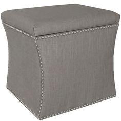 Custom Upholstered Nail Button Storage Ottoman - Skyline Furniture : Target