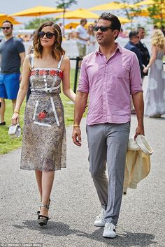 Cute couple: She and boyfriend Bobby Cannavale looked relaxed strolling around the Liberty...