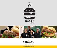 Logo burger | Branding | Hamburguesa vector. Restaurante especializado en hamburguesas caseras Gourmet. Logotipo promocional para camisetas. | Cliente: www.rosti.cat | Fecha: 2013 Restaurant Branding, Logo Branding, Logos, Hot Dogs, Bbq, Graphic Design, Burgers, Hamburger, Image