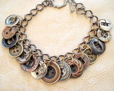 OOAK Vintage Multimetal Button Bracelet by joyceshafer on Etsy, $28.50