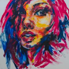 acrylic paintings of absract faces   Fine Art   Girl Portrait - abstract face painting by Olga Rykova