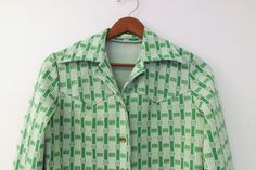Vintage 70s Green White Striped Checkered Western Wear Shirt Medium Large Women's Blouse Boho Hippie Preppy Lightweight Jacket Rodeo Country...