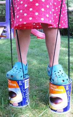 DIY Kids Crafts for Outdoors Fun - DIY Upcycled Can Stilts - DIY Projects & Crafts by DIY JOY