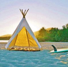 Who needs a beach umbrella when you have a Teepee (tipi)! Sunset surf sessions in style - loving it! www.chicasurfadventures.com