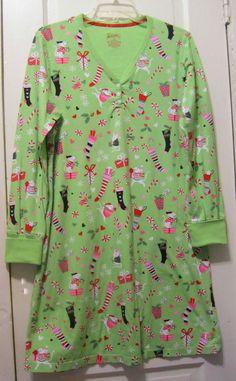 Nick & Nora Soft Sleep Shirt Christmas Mice Stockings Candy Canes M #NickNora #Sleepshirt Nick And Nora, Sleep Shirt, Candy Cane, Floral Tops, Stockings, Best Deals, Blouse, Cotton, Shirts