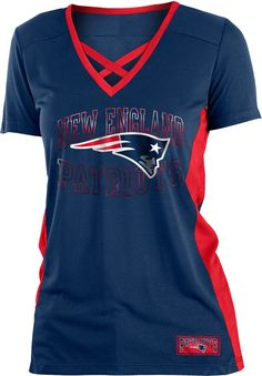 NFL Team Apparel Women s New England Patriots Mesh Lace Navy T-Shirt 019f685b7a65