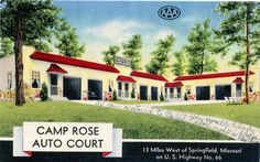 Vintage Postcard of Camp Rose Auto Court, Springfield, MO. 'The Motels of Route 66' an interactive doc film & book!