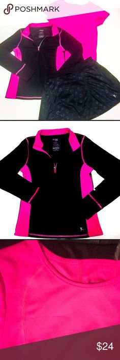 🎶3 Piece Dance Skort Set!🎶 In EUC girl's LG (10/12) matching Danskin set! Your little star will want to dance all night in this hot pink & black 3 piece set! Includes half zip pullover, crew neck tee, and skirt with printed lip design & attached shorts inside, all with Dri-Fit material! Please note, while the skirt and jacket look new the tee has a small run (pictured) on right chest area. All offers considered when made using the offer button and closet discount applied to bundles…