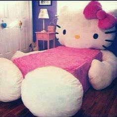 Hello Kitty bed for my future Hello Kitty spare room. No one else likes it. Who cares! I get to say I have a Hello Kitty spare room! Cama Da Hello Kitty, Hello Kitty Haus, Hello Kitty Bedroom, Hello Kitty Stuff, Hello Kitty Zimmer, Hello Kitty Collection, Stylish Bedroom, Little Girl Rooms, My Room