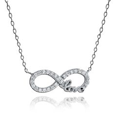 ICZ Stonez Sterling Silver Cubic Zirconia Infinity Love Necklace ($13) ❤ liked on Polyvore featuring jewelry, necklaces, accessories, white, cubic zirconia pendant necklace, cubic zirconia necklaces, long sterling silver necklace, sterling silver pendant necklace and sterling silver infinity pendant
