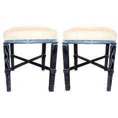 """William """"Billy"""" Haines Stools in Cerused Ebony Finish 