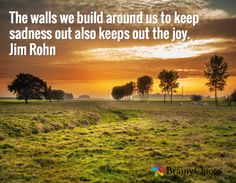 The walls we build around us to keep sadness out also keeps out the joy. Jim Rohn
