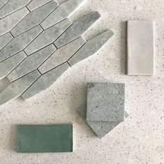 Ocean & Merchant's Padovan Terrazzo in Aleutian, Long Hex Mosaic in Ming Green, Haku in Sage, Campo Verde, and Jade Hex Tile, Hexagon Tiles, Wall Tiles, Mosaic Bathroom, Master Bathroom, Green Ocean, Concept Board, Green Marble, House In The Woods