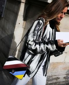 This jacket is EVERYTHING!!! Plus a Christian Dior bag at Paris Fashion Week.
