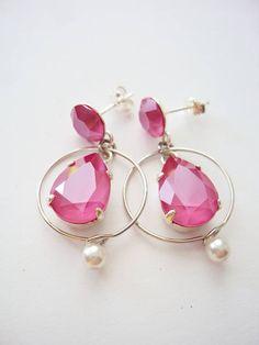 Peony Pink Earrings Dainty Earrings Sterling Silver Pink