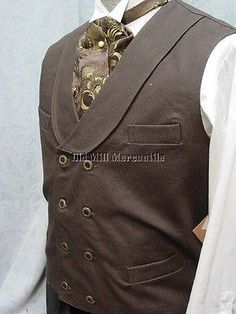 Frontier Classics Old West BROWN double breasted Cowboy Frontier men's vest Cowboy Vest, Western Vest, Western Cowboy, Mens Western Suits, Western Film, Western Style, Big Man Suits, Informal Attire, Cool Outfits