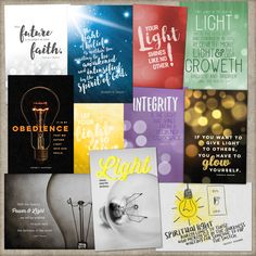 LDS Young Women Personal Progress Values Printable Cards  -  These printable 4x6 cards are coming soon! They are perfect for a New Beginnings program or to give to your young women. LDS Young Women personal progress values printable cards #personalprogress #LDS #YW #Mormon #values #YWtheme #scriptures #newbeginnings #quotes #thomassmonson #dieterfuchtdorf #uchtdorf #light #faith #divinenature #individualworth #knowledge #choicandaccountability #goodworks #integrity #virtue #lightbulb