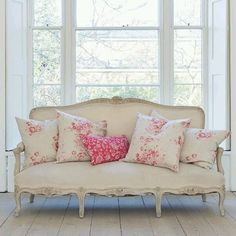French couch with pretty pink floral pillows by Cabbage & Roses Country Decor, Decor, Interior Design, Country Bedroom, Chic Decor, Home, French Country Bedrooms, Shabby Chic Decor, Interior