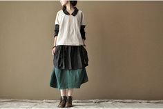 casual wear Black Loose linen Coat  Blouse Long Sleeve cotton dress women Clothing Cotton long Shirt