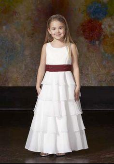 A-line Scoop Tea-length chiffon flower girl dress