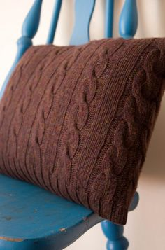 brown cable knit pillow