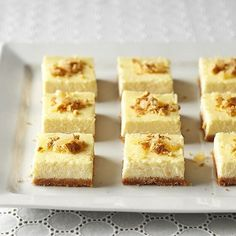 A spiced graham cracker crust and bourbon-infused egg nog filling give these simple bars a delicious holiday twist. The recipe comes from Annie Marshall of the Indianapolis-based blog Everyday Annie. Best Dessert Recipes, Fun Desserts, Holiday Recipes, Delicious Desserts, Party Recipes, Holiday Treats, Christmas Recipes, Christmas Ideas, Holiday Foods