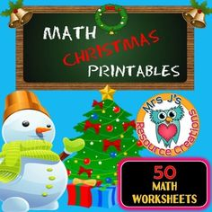 Christmas math, Christmas Math Printables for kindergarten is filled with 50 Printable and Fun Merry Math worksheets! All worksheets are with a Christmas theme and cover a range of skills. You could either use the worksheets separately in your lessons or math activity centers, or you could print out and compile a workbook for your students to work through at their own pace or use for homework.