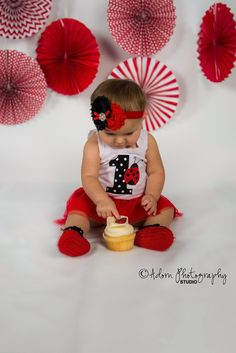 Red & Black Frayed Flowers Topped With Pearl #booties and #headband #bestselling #trending  #etsy by BabyGirlsGlam