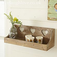 Inspiration - I want to make a wooden shelf like this for the wall of my garden-themed bath - i may do another one to go near a window and hold a collection of rooting vases as well - 3 Hearts Wall Shelf - - tå√ Country Kitchen Accessories, Shabby Chic Accessories, Home Accessories, Heart Shelf, Heart Wall, Country Crafts, Country Decor, Wooden Shelves, Wall Shelves