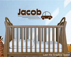 Name with Car Vinyl Wall Decal Sticker. $18.00, via Etsy.
