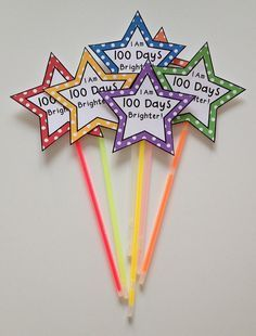 "Celebrate the day of school with your students by showing them just how much you think they shine! These Days Brighter"" gift tags are the perfect topper for a glow stick or glow bracelet! school celebration Day of School Gift Tags/Glow Wands 100 Day Of School Project, 100 Days Of School, School Holidays, School Fun, School Projects, 100 Day Project Ideas, High School, School Daze, School Stuff"