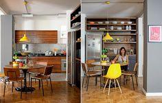 Uma parede a menos e espa�os bem demarcados: um para preparar comida e outro para receber amigos. Assim a cozinha de 15 m� uniu-se � sala de estar. Projeto do arquiteto Kan� Ferreira para a m�e Claudia Pinheiro