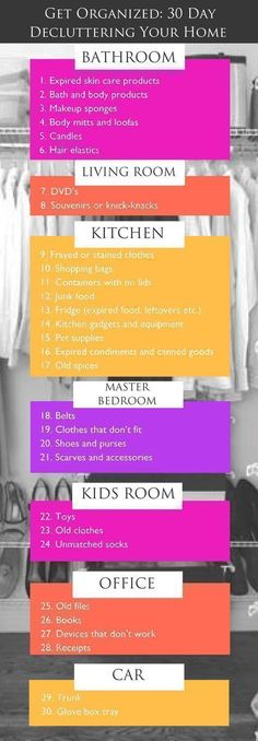 DIY Home Organization A 30 Day Plan to Declutter Your Home is part of Minimalist Organization Spring Cleaning - All it takes is a few supplies, a day's worth of cleaning and this plan for organizing and you'll be on your way to a clutter free life! Konmari, Declutter Home, Declutter Your Life, Home Organization Hacks, Clutter Organization, Organization Ideas, Organizing Home, Getting Rid Of Clutter, Getting Organized