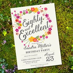 Floral Eightieth Birthday Invitation 80th by SunshineParties, $5.00