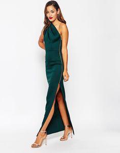 Vestido largo asimétrico con cremallera expuesta de ASOS.