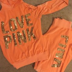 Love Pink Sweat Suit Beautiful peach colored sweat suit from Pink! PINK Victoria's Secret Other