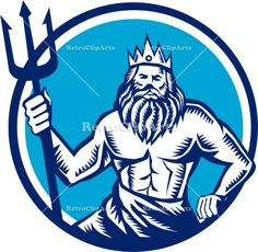 Poseidon Trident Circle Woodcut Vector Stock Illustration.  Illustration of a poseidon god of the sea holding trident viewed from front set inside circle on isolated background done in retro woodcut style. #illustration #PoseidonTrident
